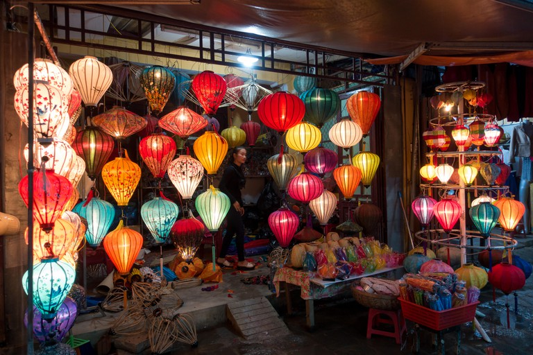 Colorful silk lanterns in Hoi An night market