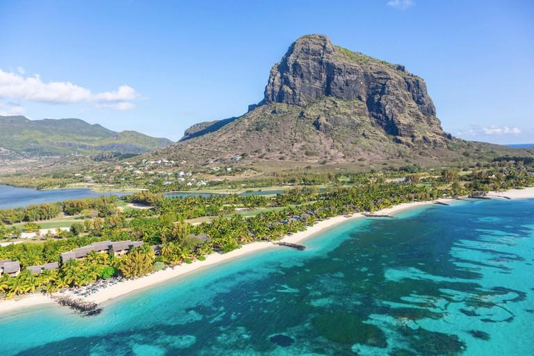 Aerial view over Le Morne Brabant Peninsula, Black River (Riviere Noire), West Coast, Mauritius, Indian Ocean