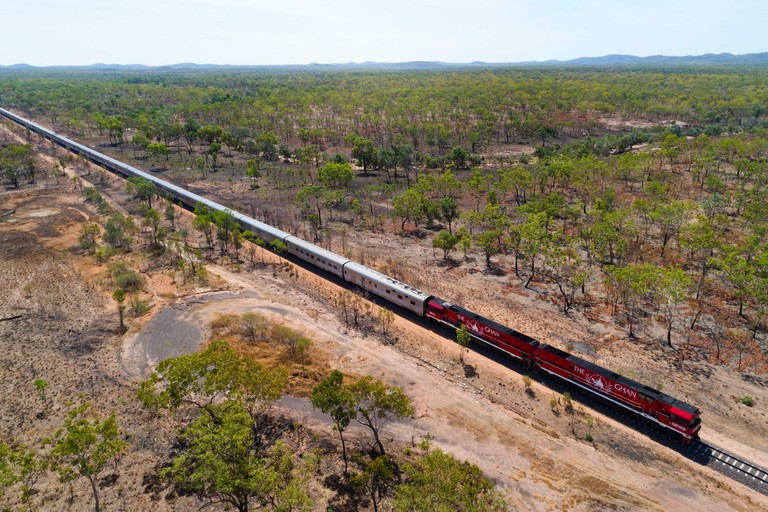 Ghan Train travelling through Australian outback, Northern Territory, Australia