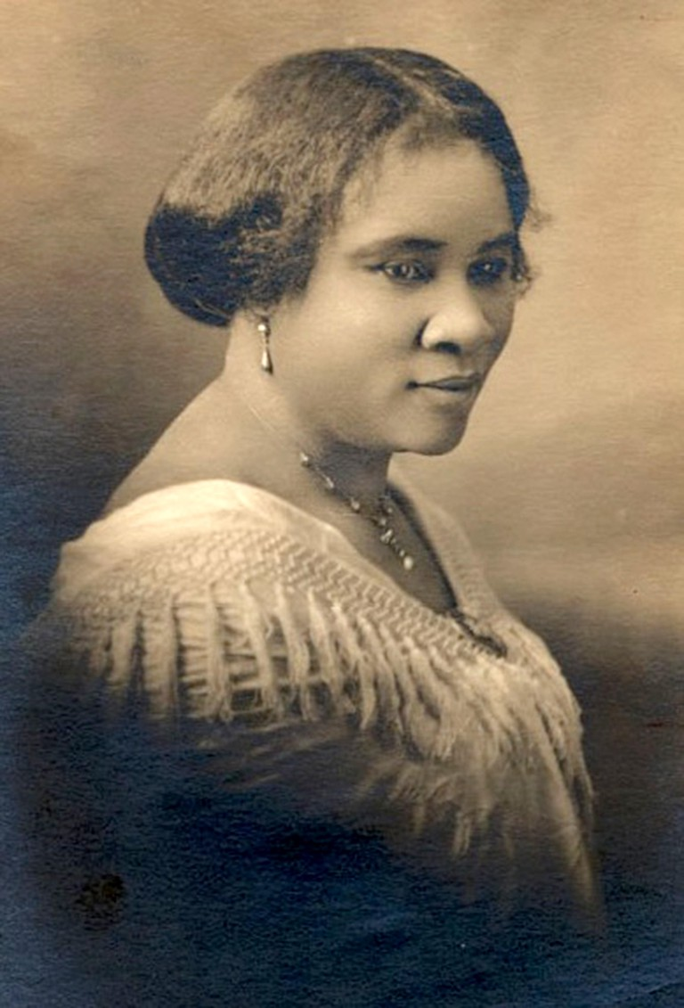 Madam C.J. Walker, the first self-made U.S. woman millionaire of any race, Sarah Breedlove (1867 ? 1919), known as Madam C. J. Walker, African-American entrepreneur and the first female self-made millionaire in the United States. Image shot 1800. Exact da