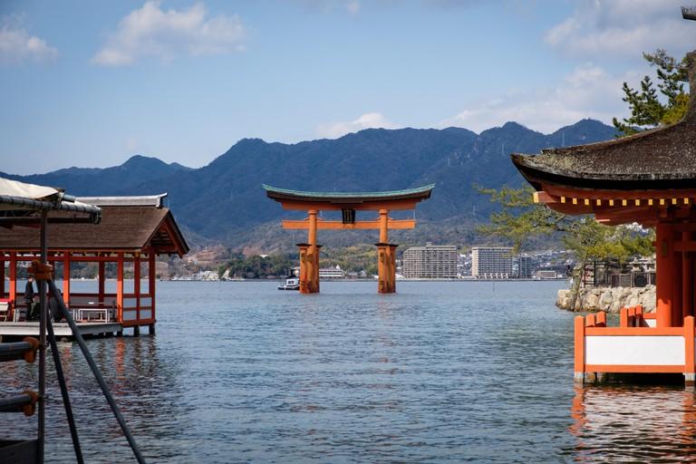 Giant red torii of Itsukushima Shrine on Miyajima, Japan.