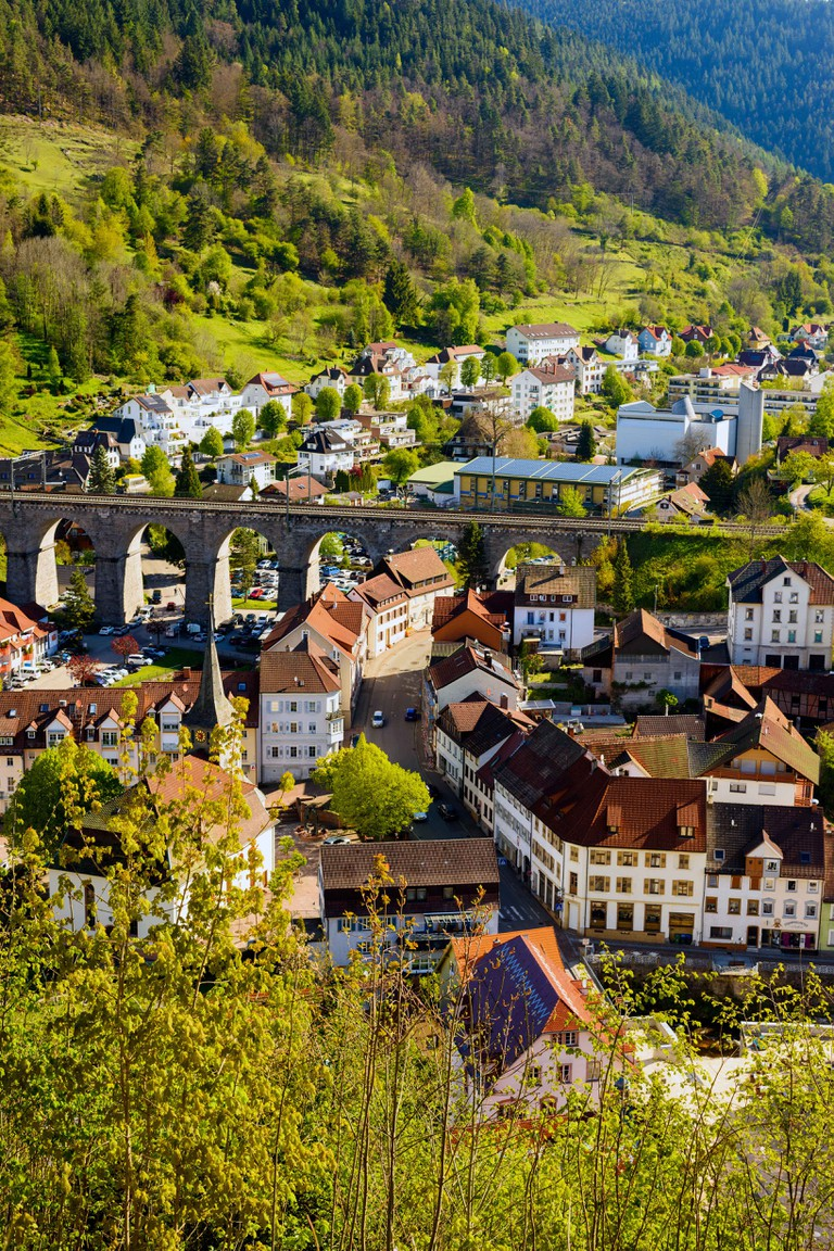 View of the village of Hornberg in the Gutach Valley with the railway viaduct