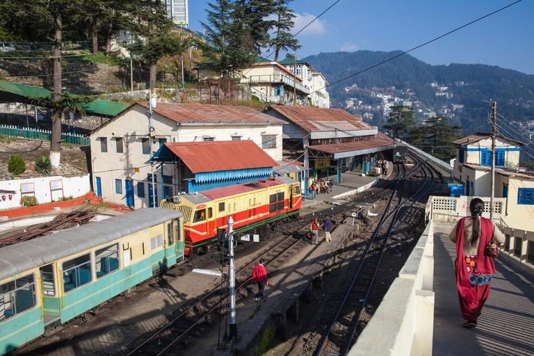 The Himalayan Queen toy train at Shimla railway station, terminus of the Kalka to Shimla Railway, UNESCO, Shimla (Simla), Himachal Pradesh, India