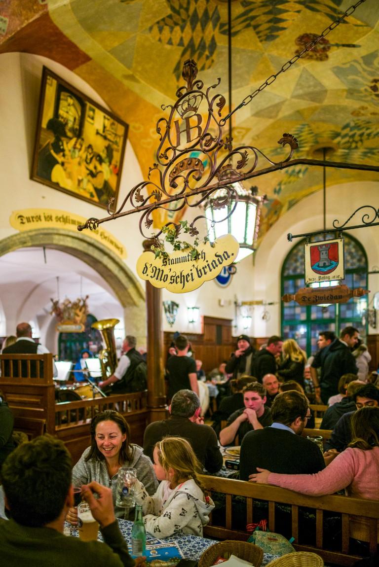 Germany, Bavaria, Munich. Hofbrauhaus, oldest beer hall in Munich