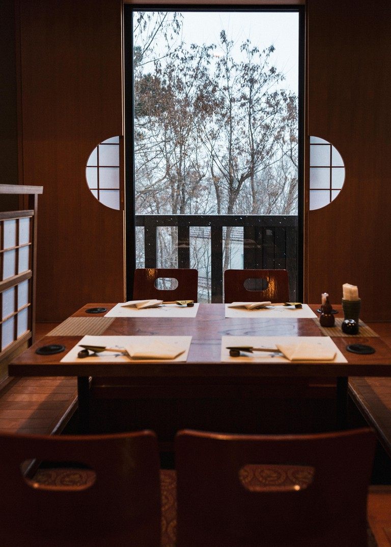 Interior of a restaurant in Japan.