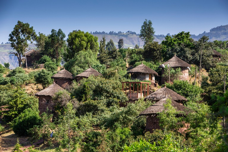 Traditional Tukul Houses on the Lalibela mountainside, Ethiopia