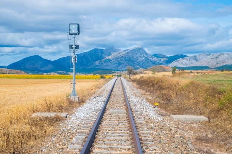 Narrow gauge track. Castrejon de la Pena, Palencia province, Castilla Leon, Spain.
