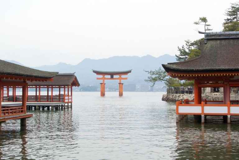 The Torii gate and Itsukushima Shrine