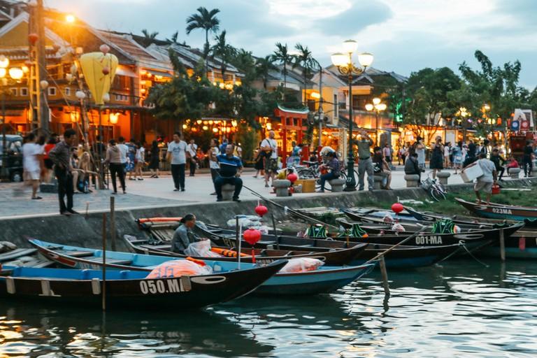 Moored sampan boats