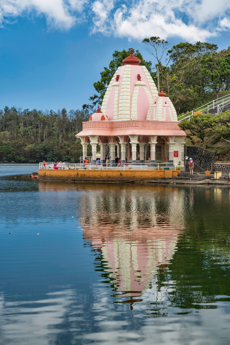 Mauritius, Savanne disctrict, Grand Bassin, crater lake, sacred place of Hinduism, many temples