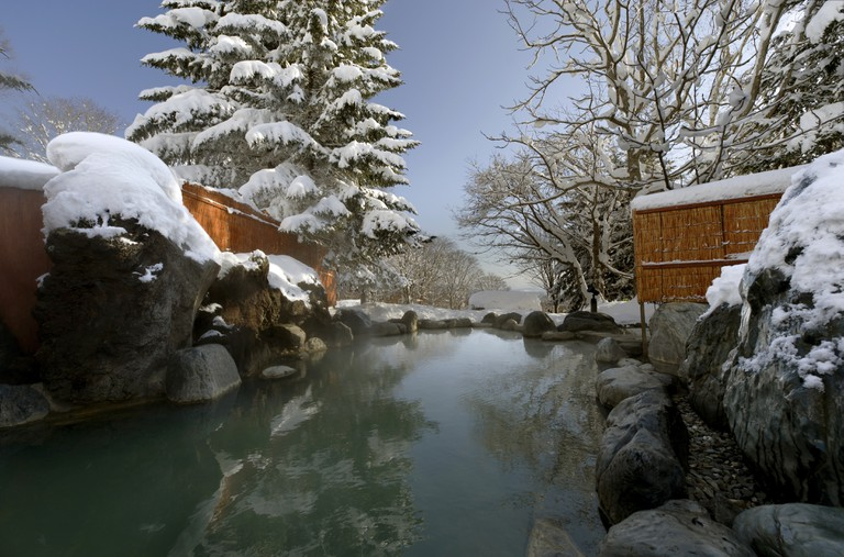 The outdoor hot springs at Niseko Village