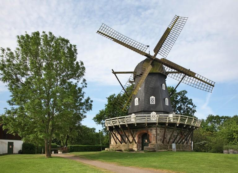 Windmill at Slottstradgarden park in Malmo. Sweden