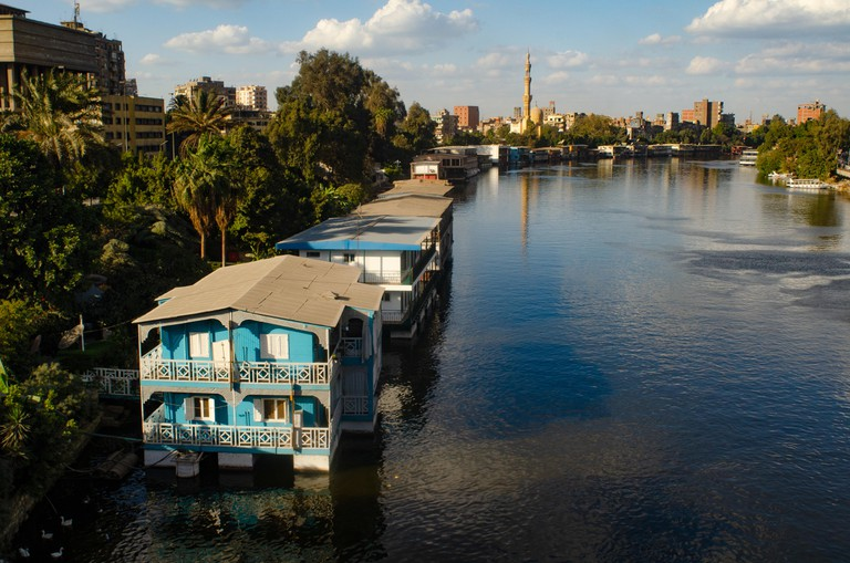 Floating House Boats on the River Nile, Zamalek, Cairo, Egypt.
