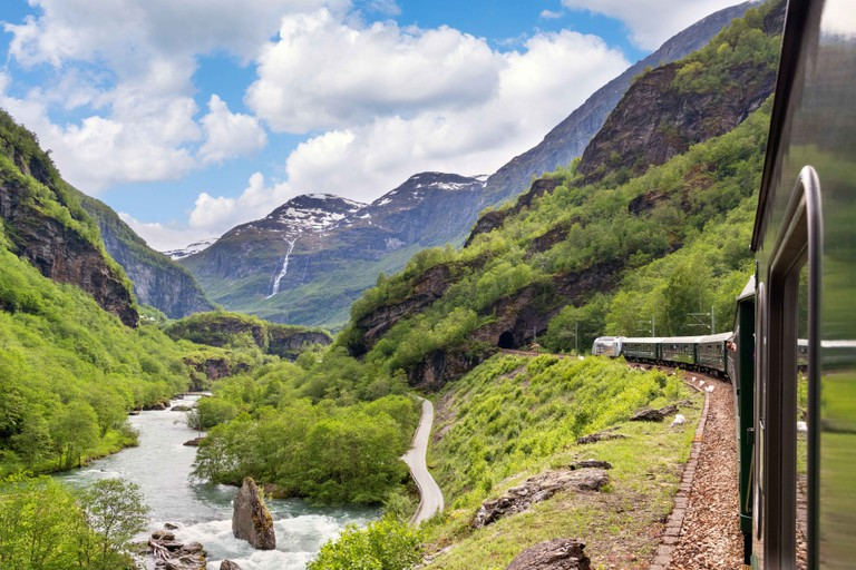 View from the Flam Railway (Flamsbana), a scenic railway which runs betwen Flam and Myrdal, Aurland, Sogn og Fjordane, Norway