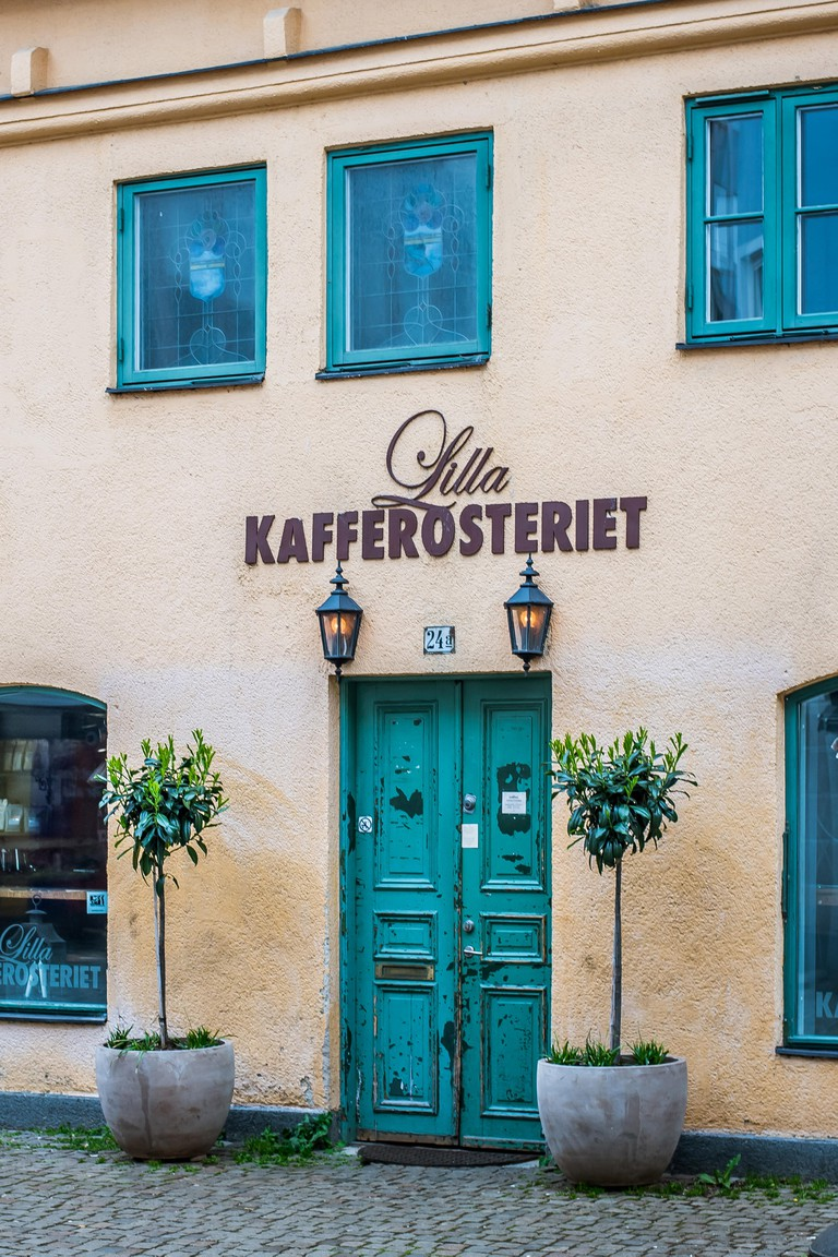 Lilla Kafferosteriet, Exterior of an ancient coffee shop in the old town of Malmoe, Sweden, May 22, 2019