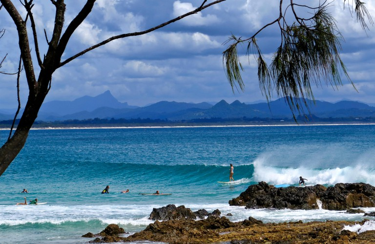 Surfing at The Pass in Byron Bay, Australia.