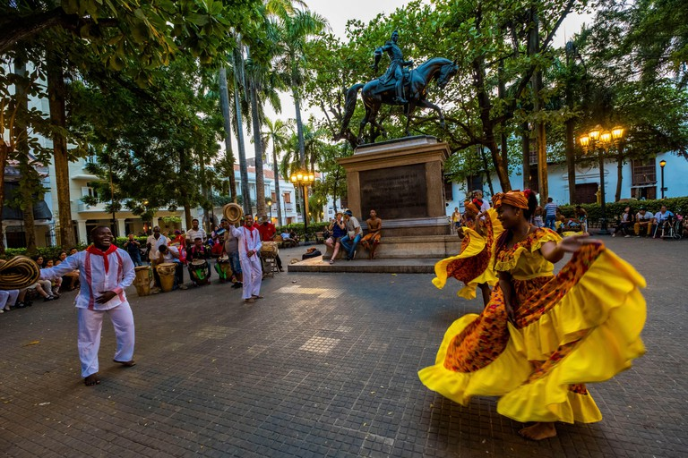 Colombia, Bolivar Department, Cartagena of the Indies, colonial center registered World Heritage bu UNESCO, Plaza Bolivar , criollo dances