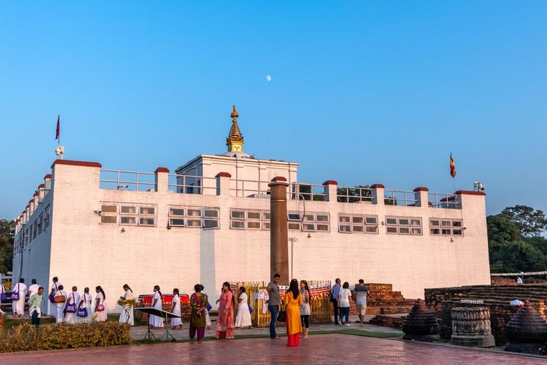 Holy Maya Devi Temple and Ashoka Pillar in Lumbini.