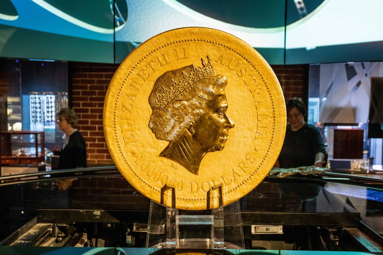 One Million Australian Dollar gold coin on display at the Perth Mint, Perth, Australia  on 24 October 2019