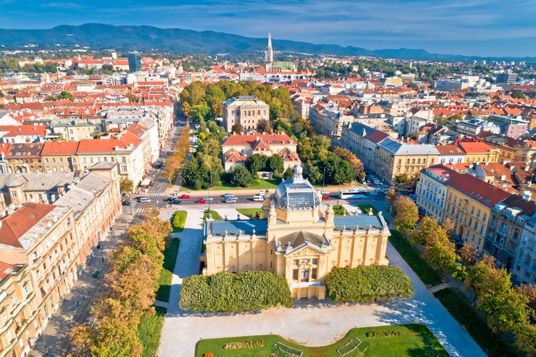 Lenuci Horseshoe parks and Zagreb landmarks aerial panoramic view, capital of Croatia