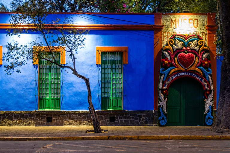 The famous Frida Kahlo Museum, also known as the Casa Azul (Blue House) in Mexico City, Mexico.