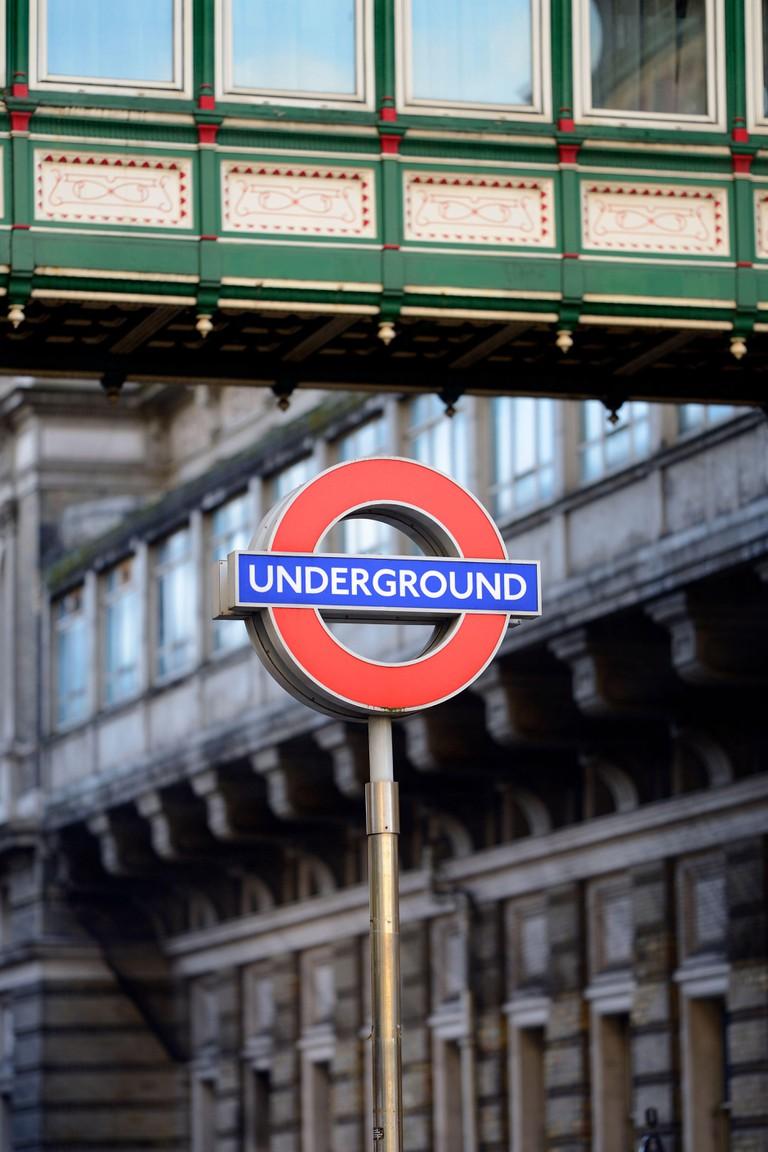 London, England, UK. London Underground sign in Villiers Street, Charing Cross