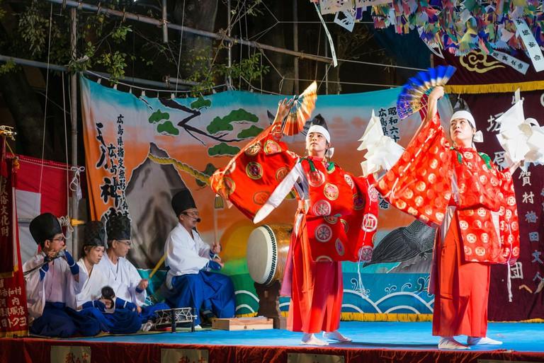 Theatrical dancing known as kagura in Hiroshima. Japan.