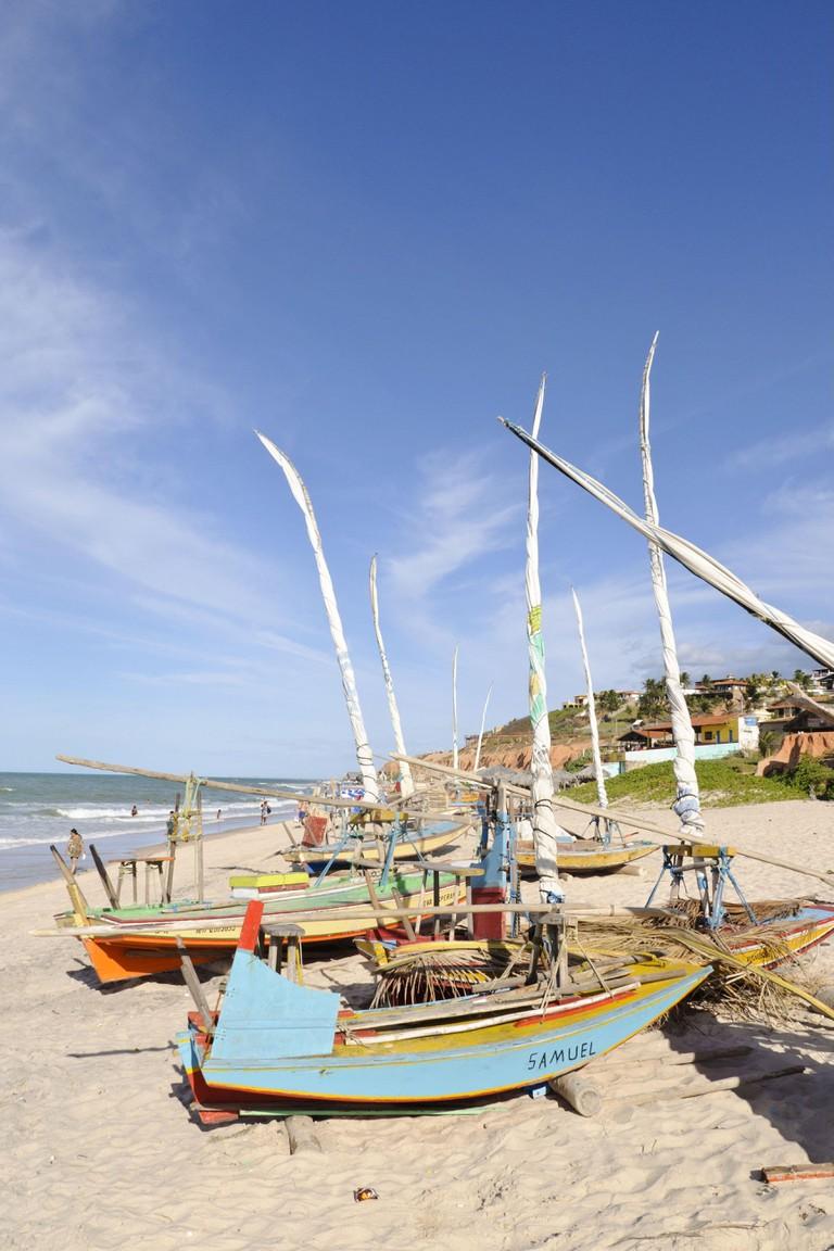 Sailing boats on the beach at Canoa Quebrada, Ceara, Brazil, South America,