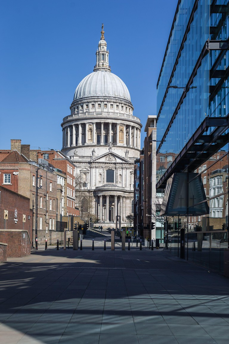 London, England, UK - March 23, 2020: Deserted St. Paul's Cathedral, London under lockdown during the Corona Virus Covid-19 outbreak.