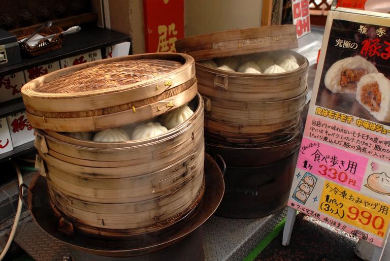 Savoury dumplings cooking in Yokahama Chinatown