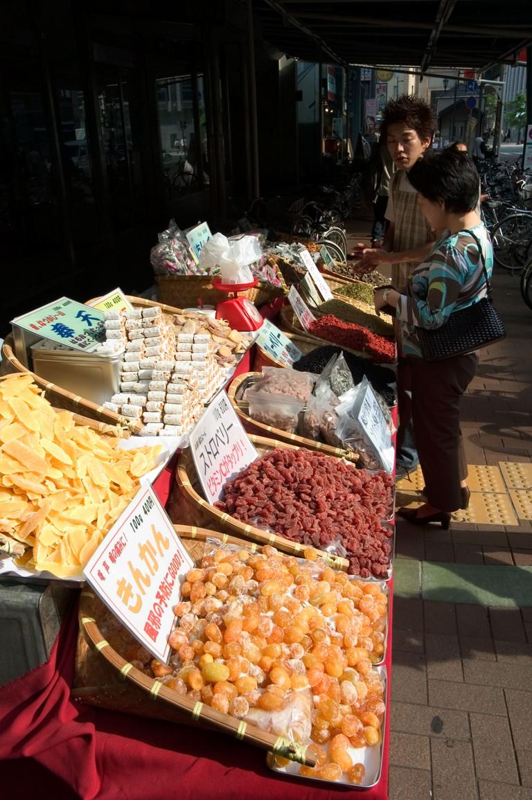 Food market in Kobe, Japan.