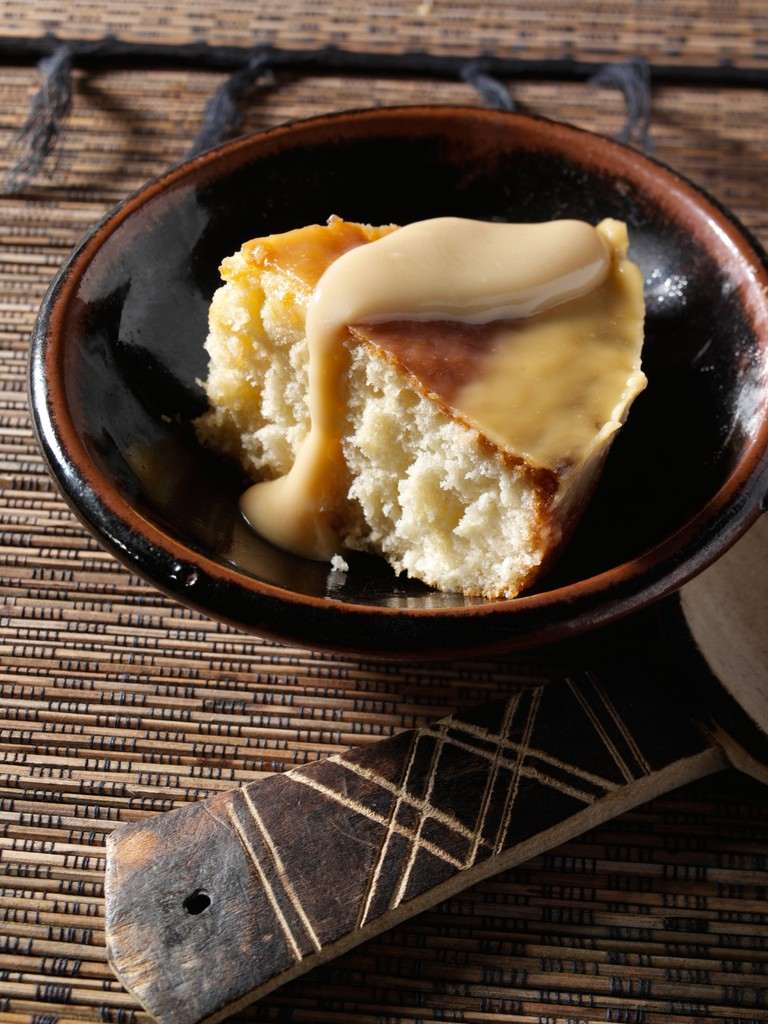 A slice of traditional South African Malva pudding vegetarian editorial food