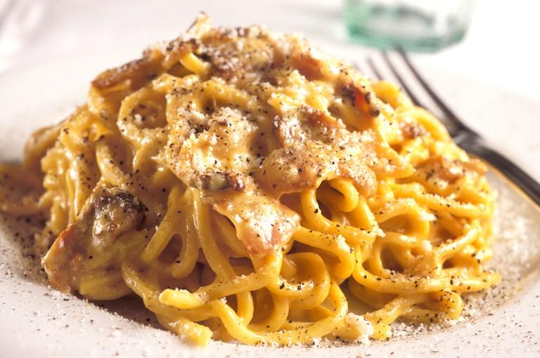 Tonnarelli pasta with Carbonara condiment Maccheroni restaurant Rome Lazio Italy