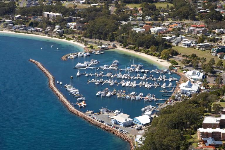 Marina Nelson Bay Port Stephens New South Wales Australia aerial