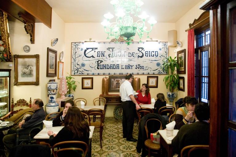 Europe Spain Balearic Islands Majorca Palma downtown Old City Caffee Can Joan de Saigo Special for hot chocolat and almond cake