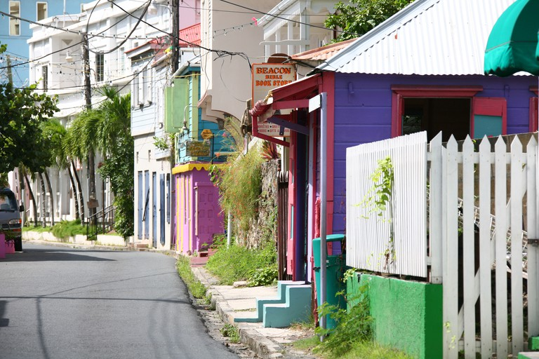 Streetscape of Road Town the capital of the Virgin Islands on the Caribbean isle Tortola in the British Virgin Islands.