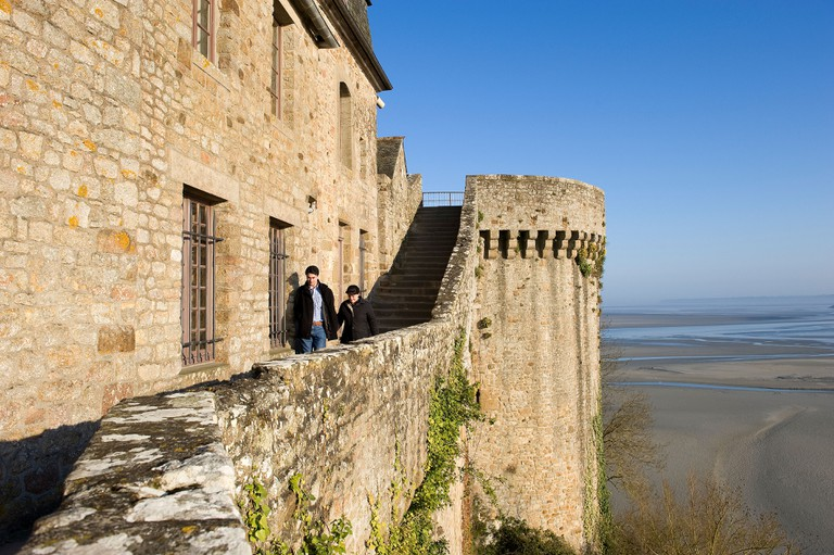 France, Manche, Mont Saint Michel, classified as World Heritage by UNESCO, ramparts