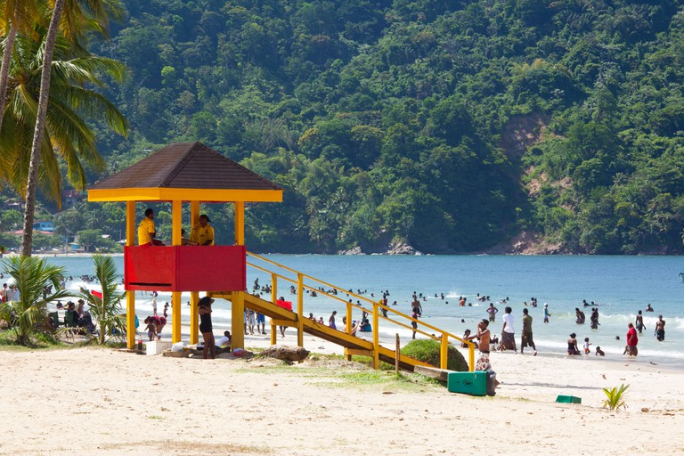 Lifeguard Tower at the Beach on Maracas Bay in Trinidad. Image shot 2009. Exact date unknown.