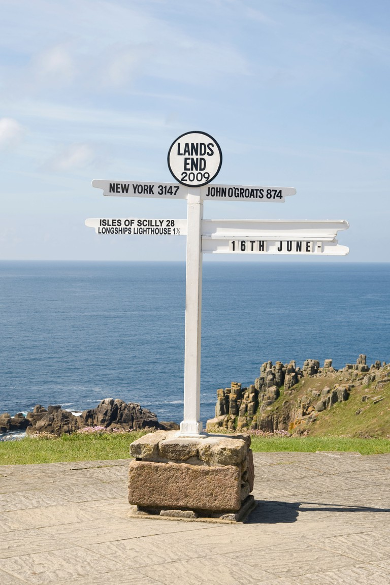 Land's End Sign, Cornwall, UK.