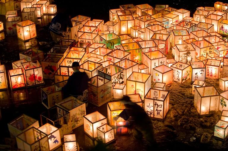 Kanazawa floating lantern festival is part of Kanazawa's Hyakumangoku Festival held the first Sat/Sun of June every year