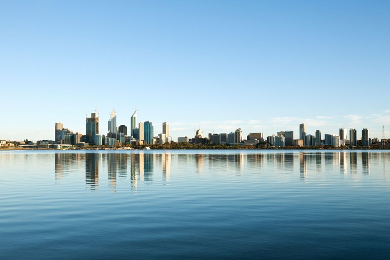 View across Swan River to city skyline. Perth, Western Australia, Australia
