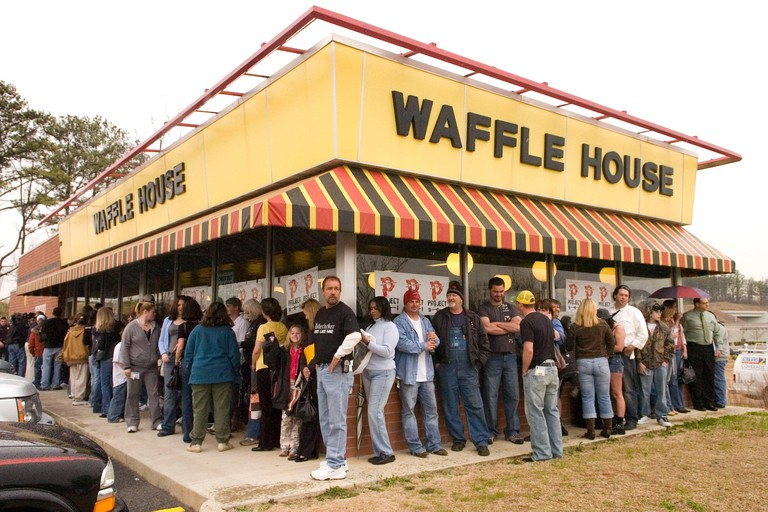 Fans of musician singer Kid Rock wait for him to arrive at a Waffle House restaurant in Duluth, Georgia, USA, 11 March 2008. Mr. Rock, also known as Robert James Richie, has been charged with battery after a scuffle at another Waffle House in metro Atlant