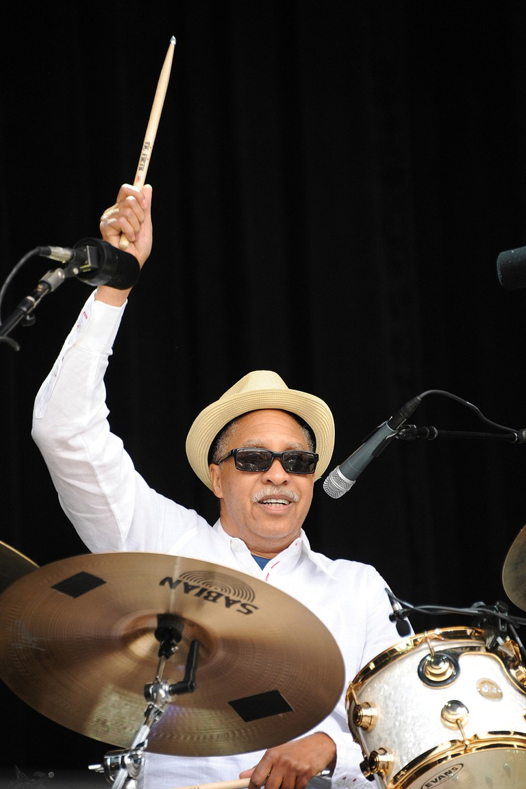 Aug 12, 2011 - San Francisco, California; USA -   Drummer ZIGABOO MODELISLE of the band The Original Meters performs live as part of the 2011 Outside Lands Music Festival that is taking place at Golden Gate Park.  The three day festival will attract thous