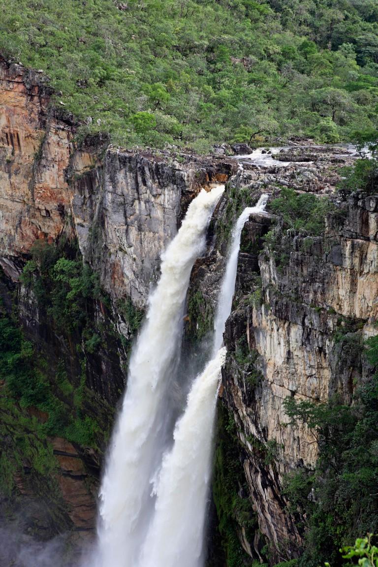 South America Brazil Parque Nacional Chapada dos Veadeiros Canion Rio Preto river running through center of national park
