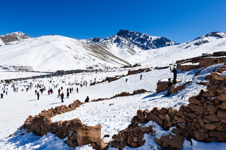 The ski resort of Oukaimeden in the Atlas Mountains near Marrakech, Morocco, North Africa