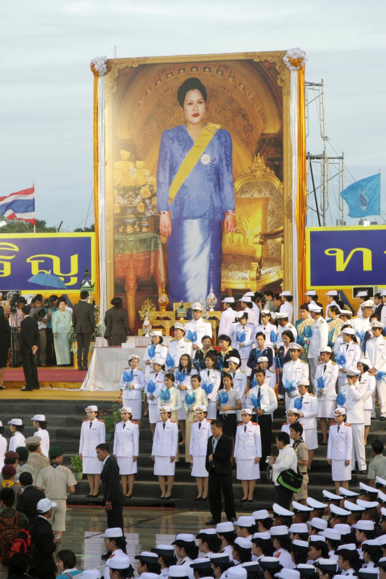 The Royal Field , Bangkok , Thailand , August 12 , 2012 . Thais nationwide celebrate Her Majesty the Queen's 80th birthday with numerous celebrations and ceremonies.