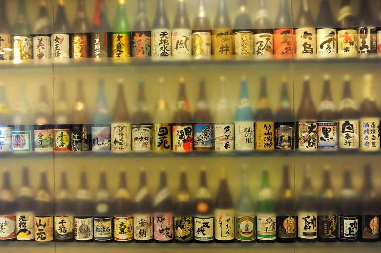 Bottles of the Japanese shochu in Kagoshima in southern Japan