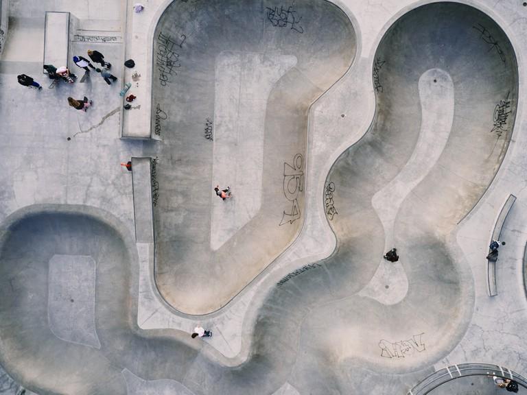 Skaters congregate at Venice Skate Park in Venice Beach