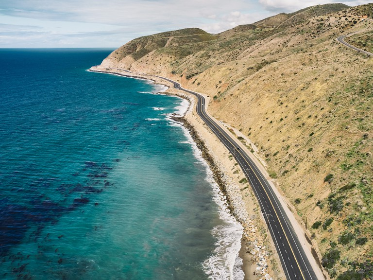 The view of the Pacific Coast Highway looking north from Malibu