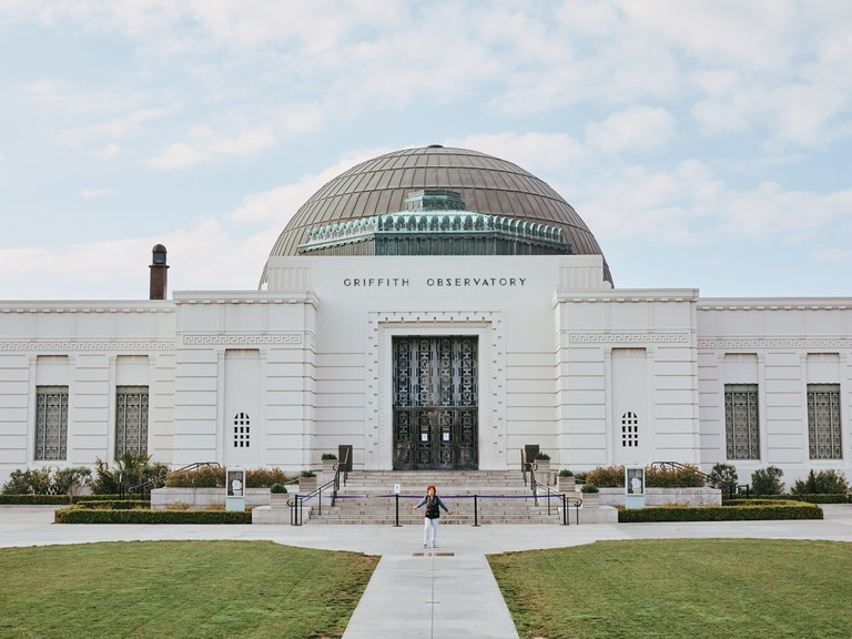 A woman works out at the Griffith Observatory